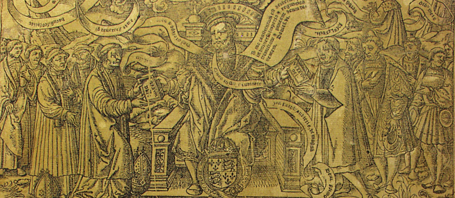 "Detail of a copy of the 'Great Bible' from Cosin's Library. This was commissioned in 1541 by Thomas Cromwell and Thomas Cranmer, the two leading religious reformers under Henry VIII. This detail shows the king handing out copies of the Bible the ""word of God"" to Cromwell and Cranmer."